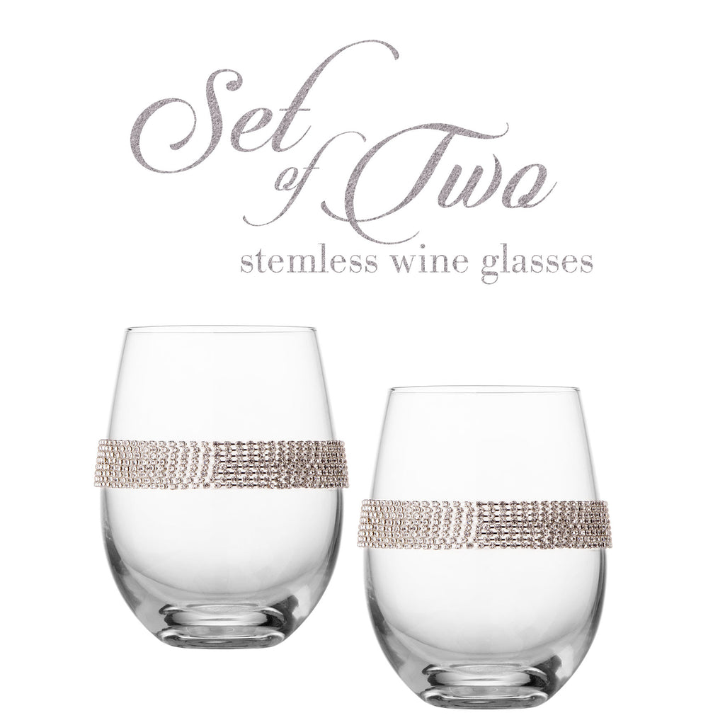Cheer Collection Stemless Wine Glasses with Silver Rhinestone Design, Set of 2