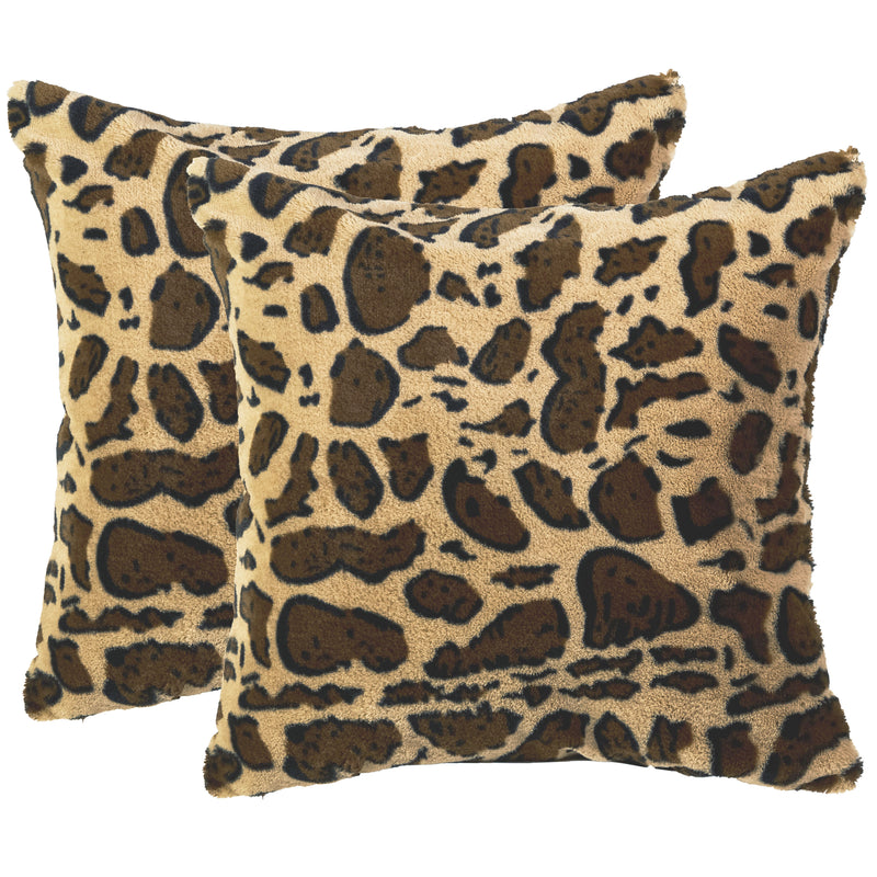 Cheer Collection Set of 2 Leopard Print Throw Pillows - Soft Velvety Faux Fur Decorative Lumbar Couch Pillows