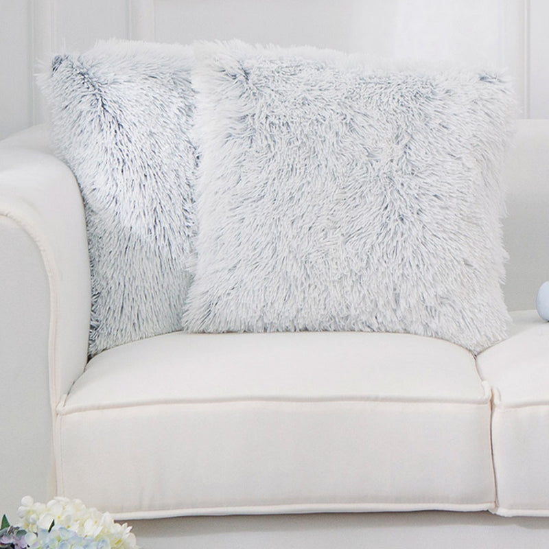 Cheer Collection Set of 2 Shaggy Long Hair Throw Pillows | Super Soft and Plush Faux Fur Accent Pillows - 18 x 18 inches