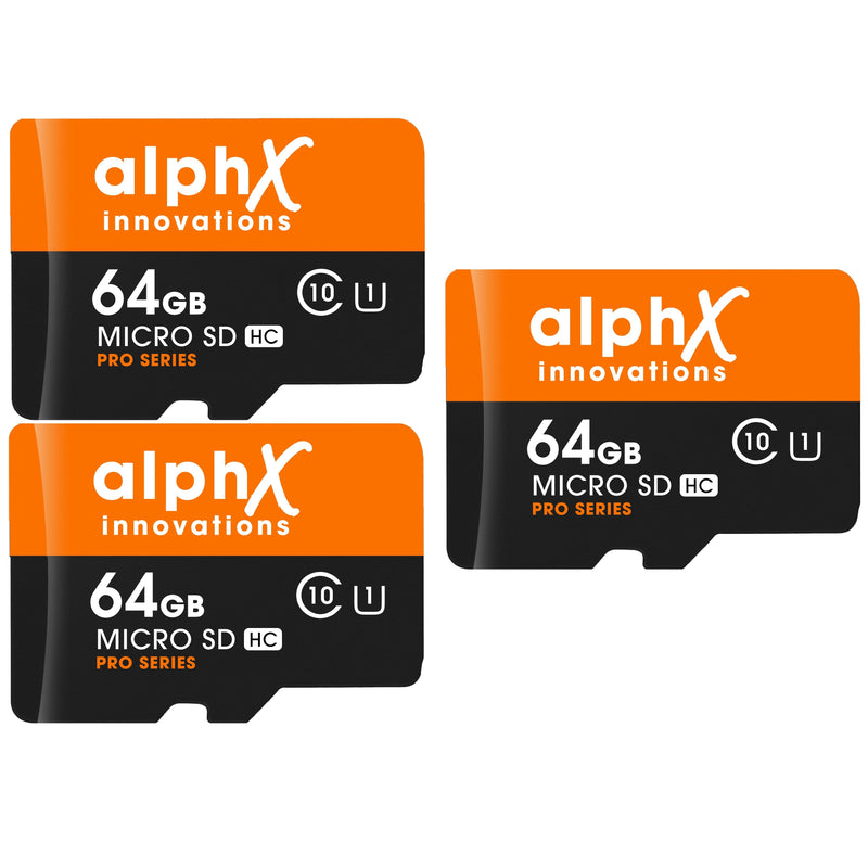 AlphX 64gb 3 Pack Micro SD High Speed Class 10 Memory Cards with Bonus Adapter and Sandisk Micro SD Card Reader
