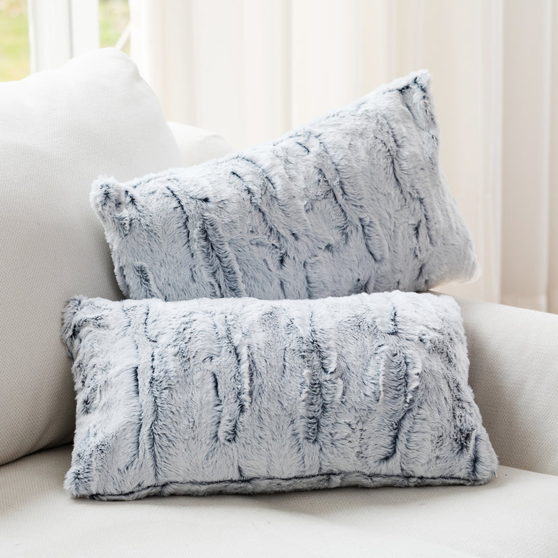 "Cheer Collection Embossed Faux Fur Throw Pillows -  12"" x 20"" - White/Blue"