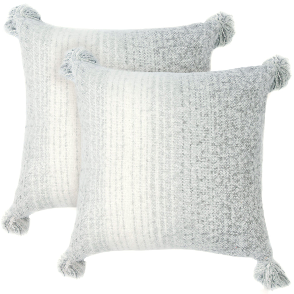 Cheer Collection Set of 2 Gray Ombre Acrylic Throw Pillows with Tassels