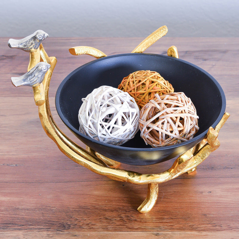 Cheer Collection Black Decorative Bowl on Gold Branch Stand with Silver Birds -  Potpourri Holder, Fruit Bowl, Candy Dish and Centerpiece Bowl