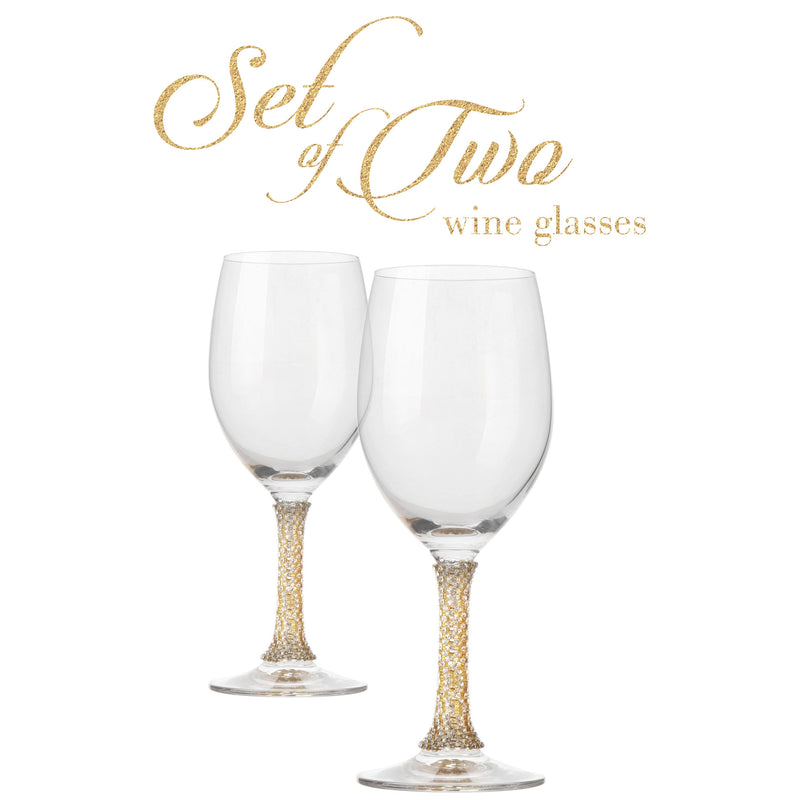 Cheer Collection Crystal Wine Glass with Gold Stem, Set of 2