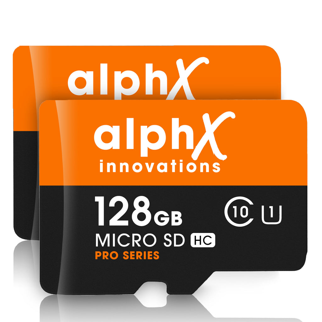 AlphX 128gb 2 Pack Micro SD High Speed Class 10 Memory Cards, Adapter & Sandisk Micro SD Card Reader