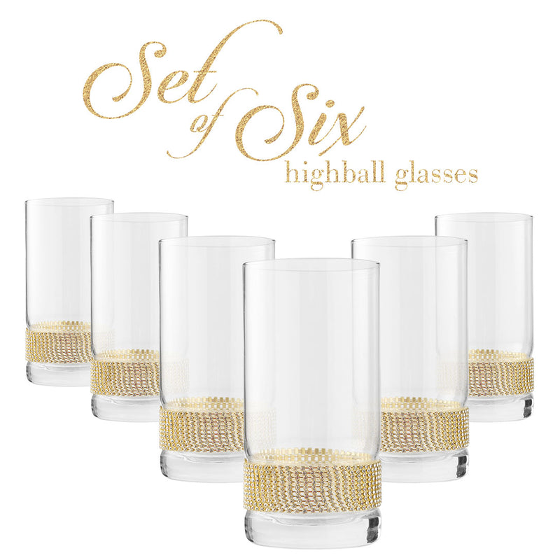 Cheer Collection Highball Glass with Rhinestone Design