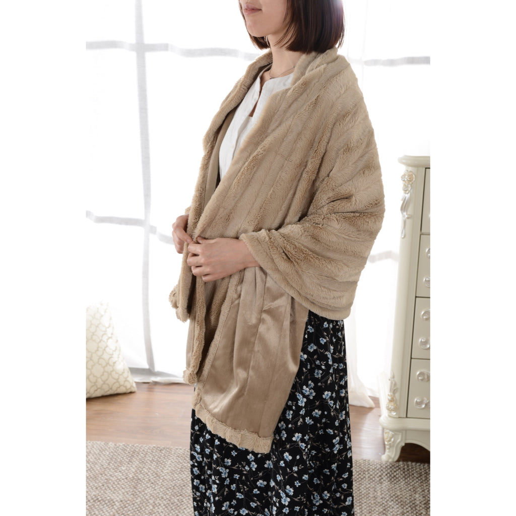 Cheer Collection Faux Fur Pocket Throw Snuggler & Cape