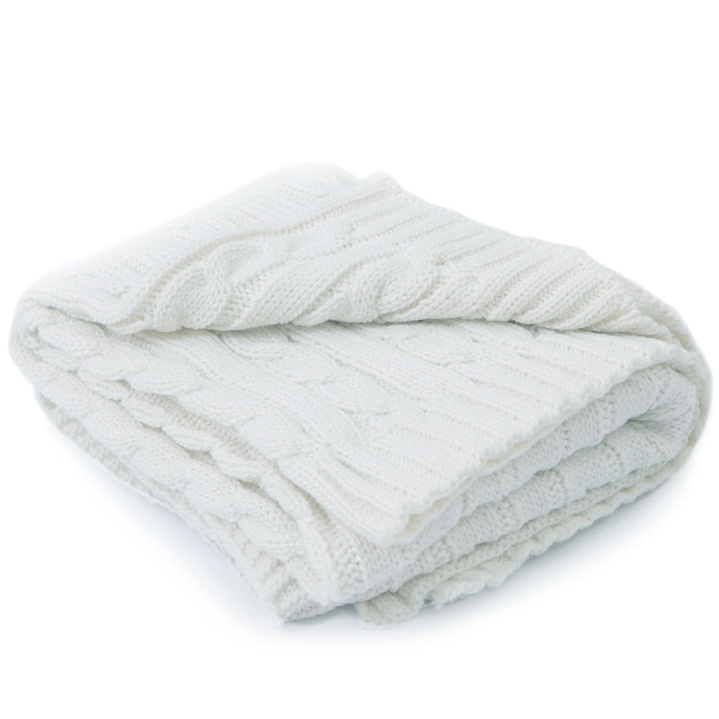 Cheer Collection Knitted Throw Blanket | Super Soft Cable Knit 100% Acrylic Accent Throw - Ivory, 50 x 60 inches