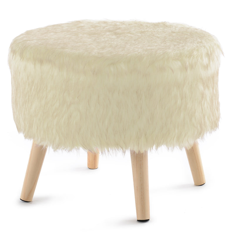 Cheer Collection Faux Fur Wood Leg Stool, White