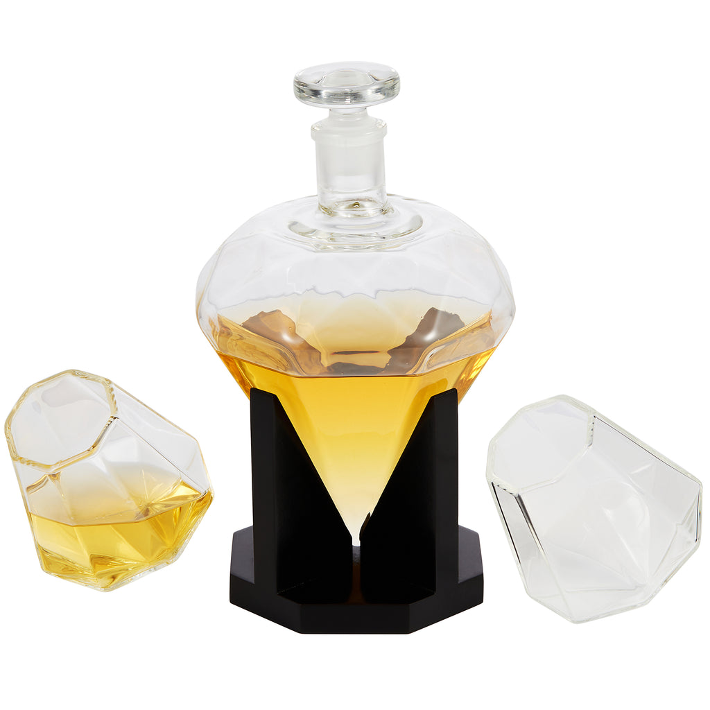 Cheer Collection Diamond Whiskey Decanter Set with 2 Cups