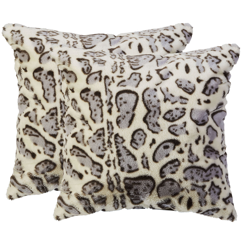 Cheer Collection Set of 2 Snow Leopard Print Throw Pillows - Soft Velvety Faux Fur Decorative Lumbar Couch Pillows
