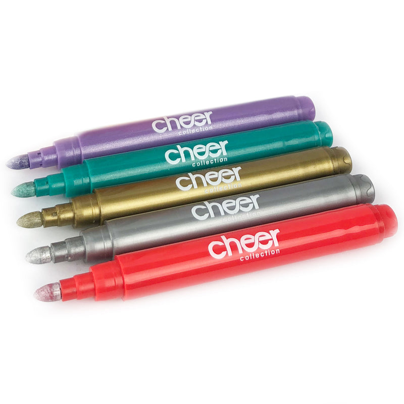 Cheer Collection Metallic Colors Wine Glass Markers, Pack of 5 Washable Pens, Easy Erase, Dries Fast