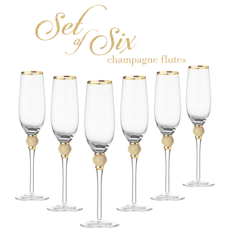 Cheer Collection Crystal Champagne Glass with Gold Rim, Set of 6