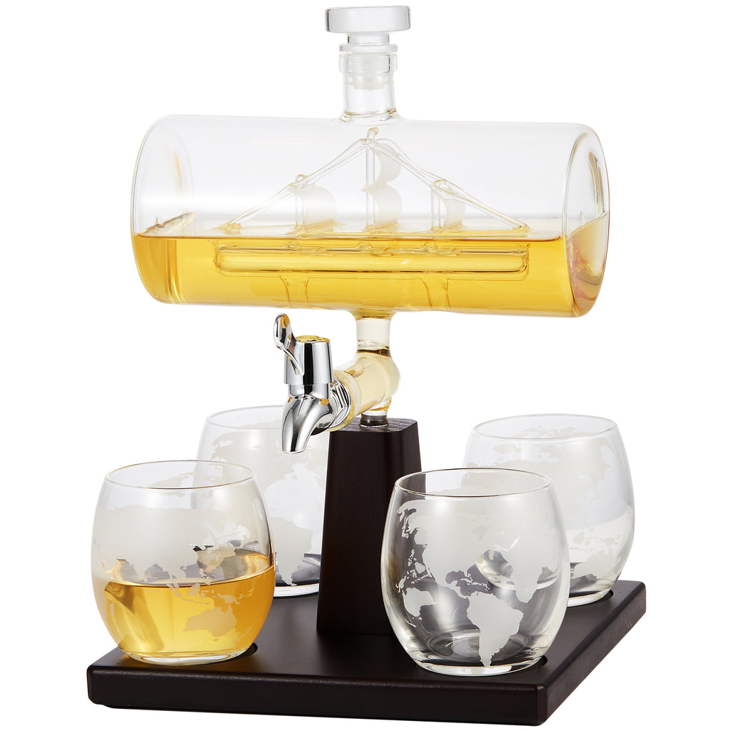 Cheer Collection Sail Boat Whiskey Decanter and 4 Cups Set with Wood Base