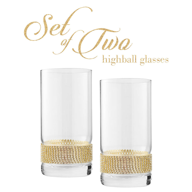 Cheer Collection Highball Glass with Rhinestone Design 2 Pack