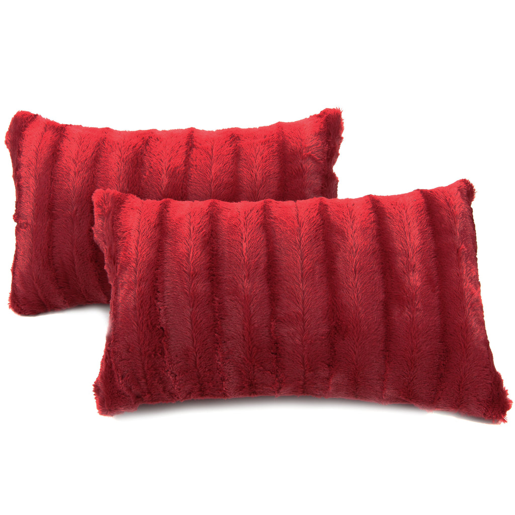 "Cheer Collection Set of 2 Decorative Throw Pillows Reversible Faux Fur to Microplush - 12""x 20"""