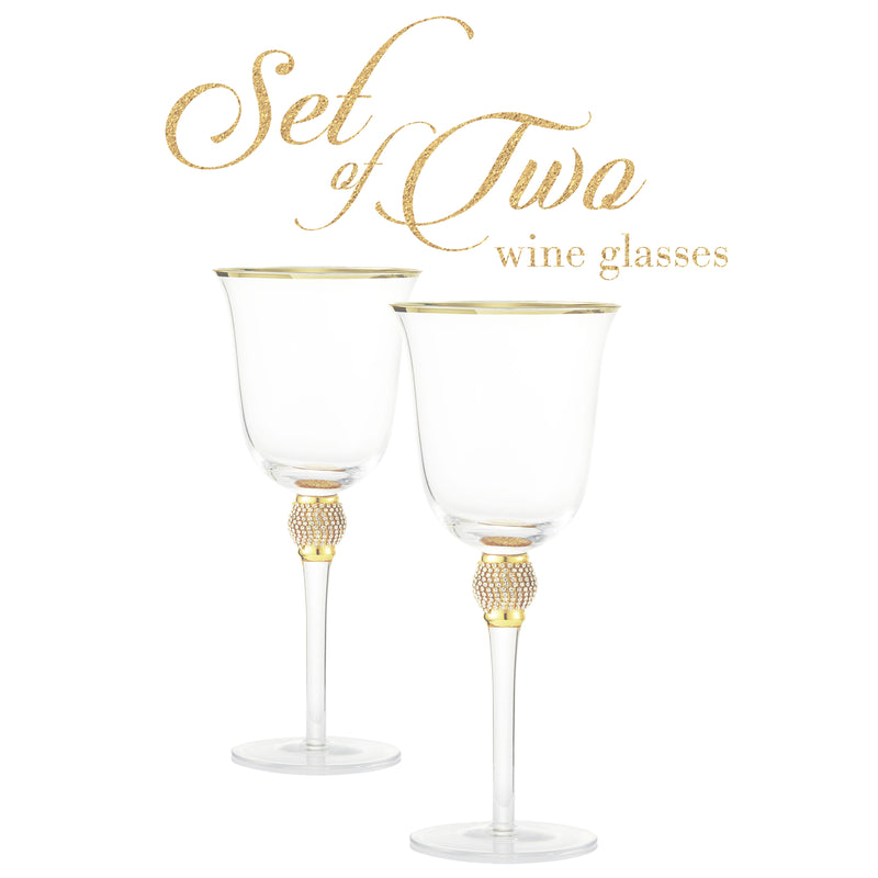 Cheer Collection Rosè Wine Glass with Rhinestone Design and Gold Rim set of 2