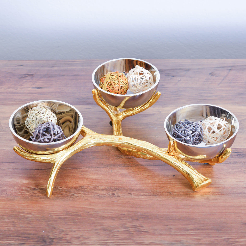 Cheer Collection Shiny Nickel Plated Three Sectional Bowl on Gold Branch Base  Textured Serving Bowl, Candy Dish and Centerpiece Bowl