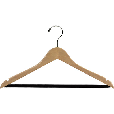 "17"" Wooden Suit Hanger with Flocked Bar"