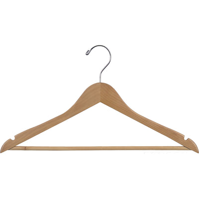"17"" Rubber Coated Wooden Suit Hanger with Locking Bar"