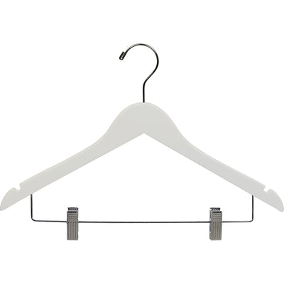 "17"" Rubber Coated Wooden Suit Hanger with Metal Clips"