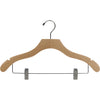 "17"" Wavy Wooden Suit Hanger with Metal Clips"