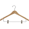 "17"" Contoured Wooden Suit Hanger with Metal Clips"