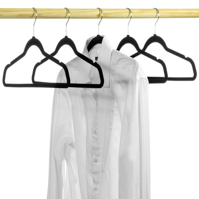 "17.5"" Flocked/Velvet Ultra-Thin Top and Bottom Hangers"