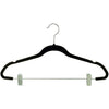 "18"" Black Flocked/Velvet Ultra-Thin  Suit/Set Hangers"