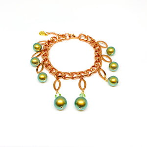 Curb Chain Copper Bracelet - Green