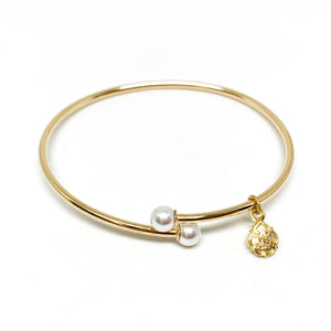 Logo white pearl bangle bracelets 14k gold-filled