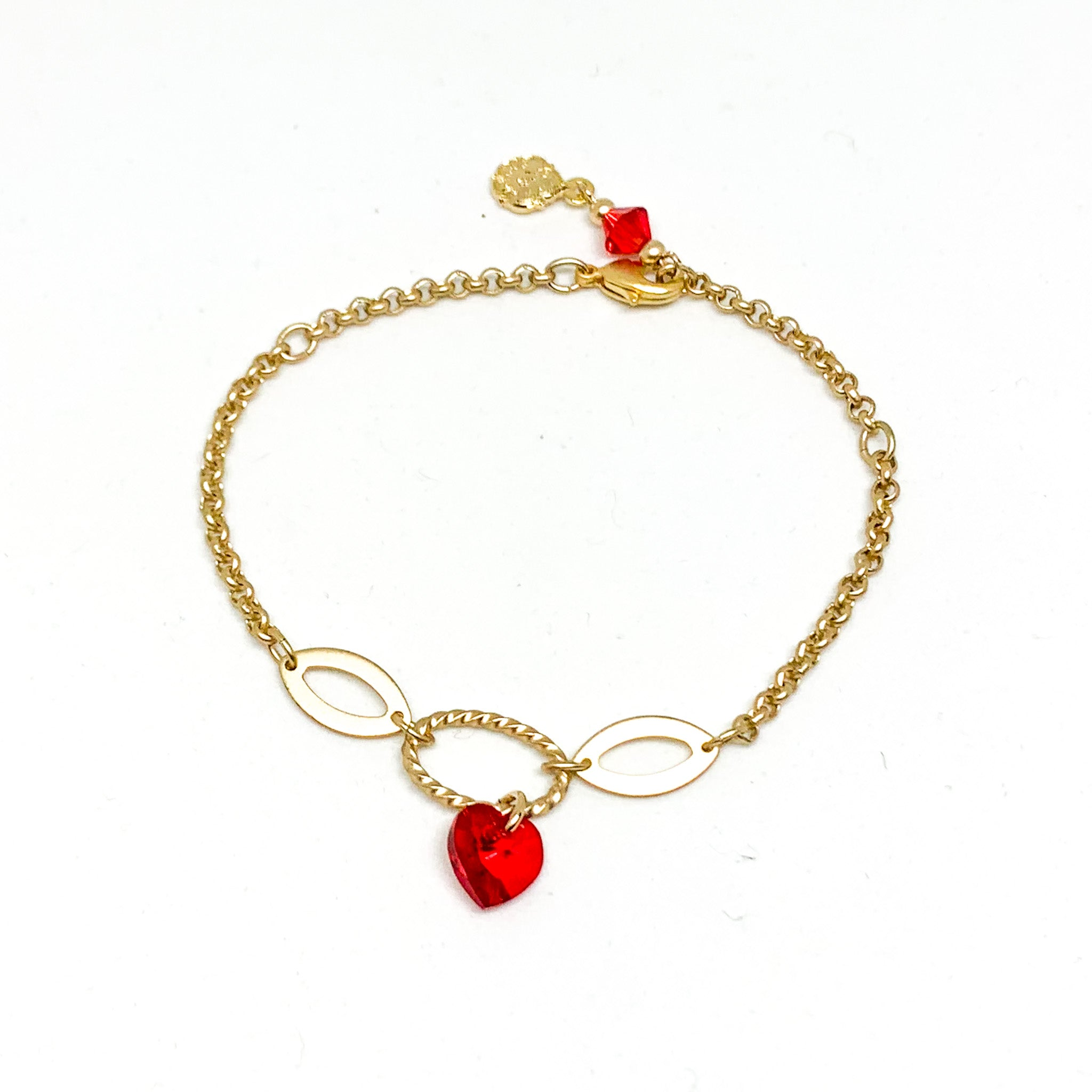 """Be Mine"" Gold Chain Rolo Heart Charm Bracelet"