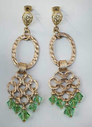 Lattice Hoop Crystal Earring - green and gold
