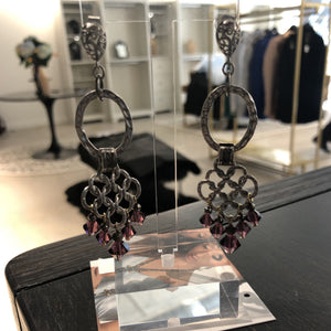 Lattice Hoop Crystal Earring