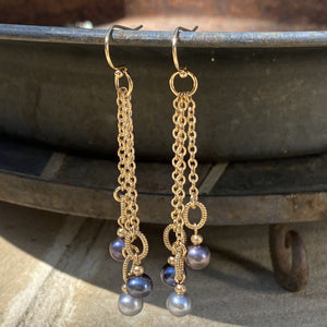 Tassel Chain Triple Drop Pearl Earrings