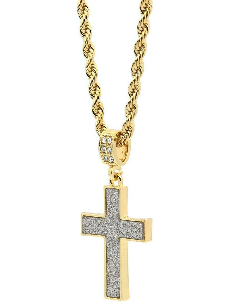 Stardust 14k plated gold cross necklace best seller tripleroyal 196 14k gold plated stardust cross mozeypictures Image collections