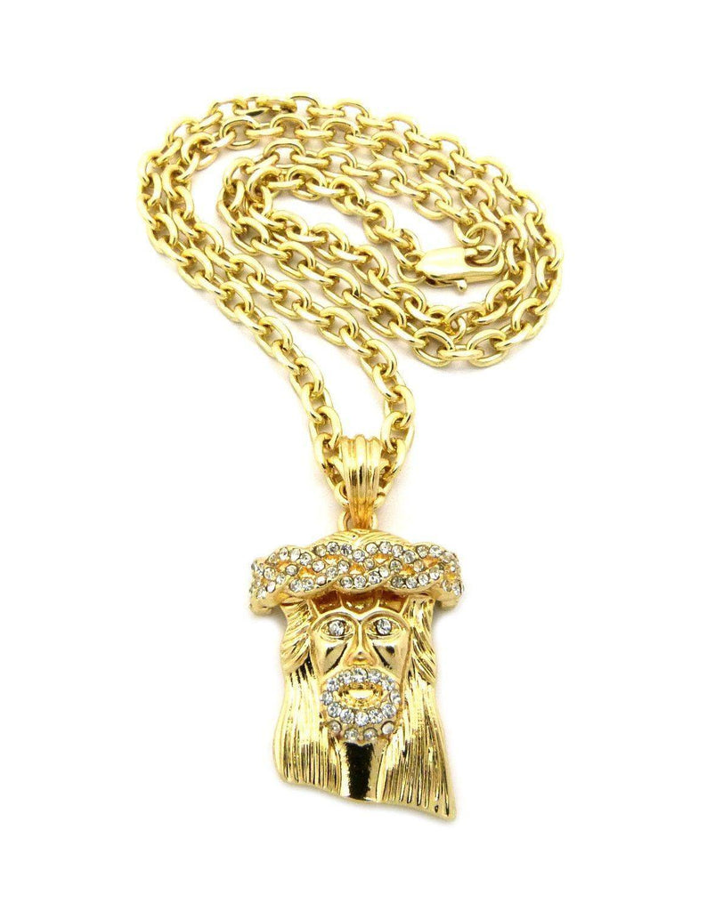 Gold jesus piece chain necklace buy 1 get 1 free tripleroyal googleproductcategory gold jesus piece chain aloadofball Images