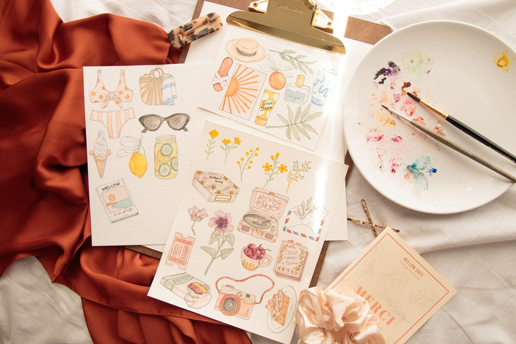 Illustrations Originales Stickers été Mellow Days