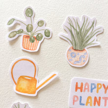 House Potted Plants Theme Printable Sticker Sheet, for Bujo, Bullet Journal, and Planners