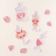 Candy Theme Printable Sticker Sheet, for Bujo and Bullet Journal. features candy jars, hard candy, lollipops