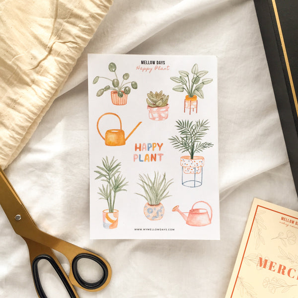 House Potted Plants Theme Printable Sticker Sheet, for Bujo and Bullet Journal