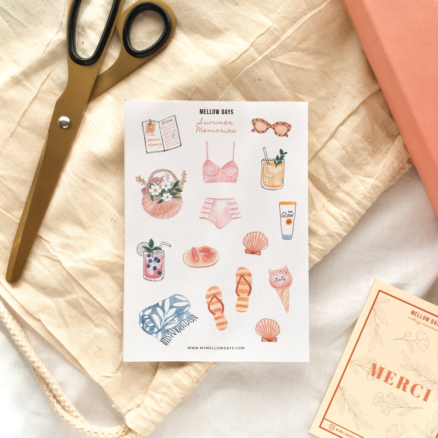 Beach Summer Theme Printable Sticker Sheet, for Bujo, Bullet Journal, and Planners