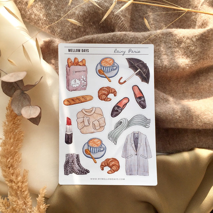 Rainy Paris, autumn/ fall themed Bujo Sticker Sheet