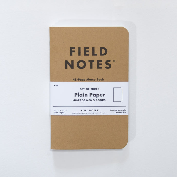 Field Notes Plain Paper, Kraft Memo Notebook, Set of Three