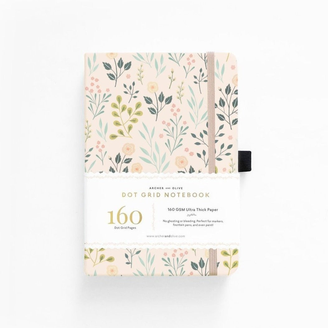 archer and olive bullet journal notebook, Pink Flowers A5