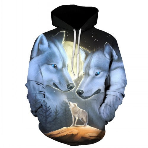 3D Wolf Printed Hoodies