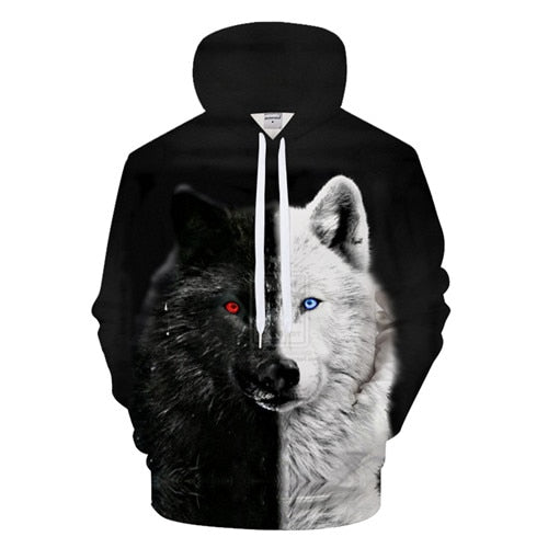 Black White Wolf Hoody