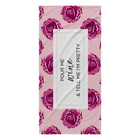 rose wine beach towel