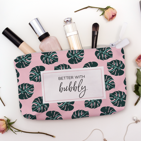 pink travel makeup bag