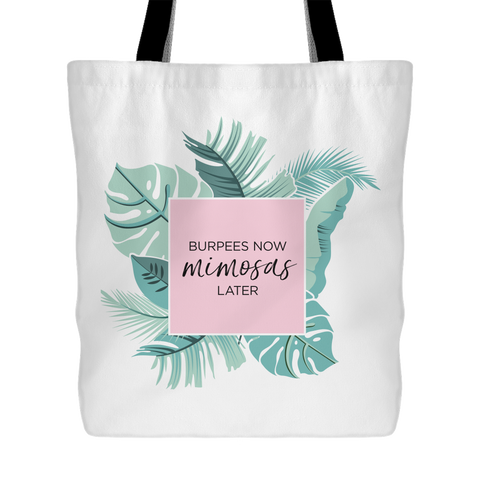 Champagne & Palm Leaves Wine Tote Bag (6)